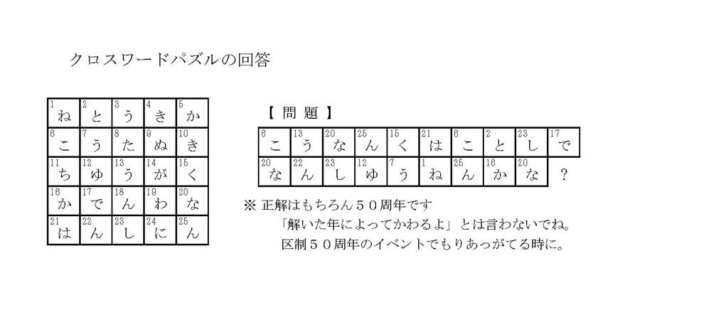 クロスワード回答の画像